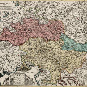 Zemljevid Štajerske, Koroške, Kranjske in Celjskega okrožja (ok. 1745)
